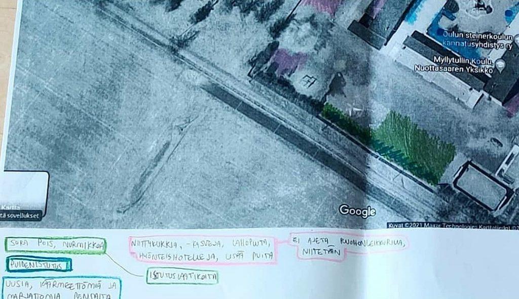 Karttapohja, johon on merkitty suunnitelmia piha-alueen monimuotoisuuden lisäämiseksi.